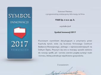 Tytuł Symbol Innowacji 2017 dla FIAB Sp. z o.o. sp. k.