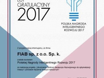Spółka FIAB laureatem Polskiej Nagrody Inteligentnego Rozwoju 2017
