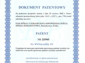 We have received a patent document
