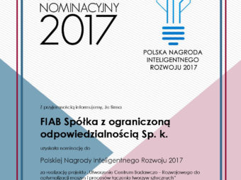 FIAB company is laureate of Polish Intelligent Development 2017 Award