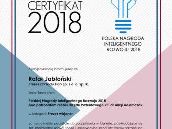 Aż Dwie Polskie Nagrody Inteligentnego Rozwoju w spółce FIAB?